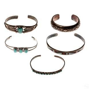 Native American Silver & Turquoise Cuff Bracelets