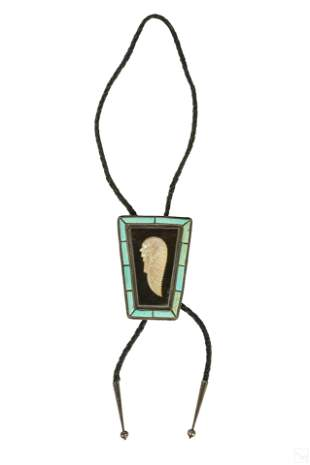 Native American Indian Chief Turquoise Bolo Tie