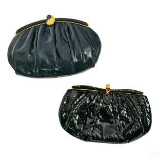 Judith Leiber Snakeskin Leather Evening Bag Purses