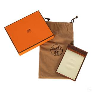 Hermes Paris Lacquered Burl Wood Notebook with Box