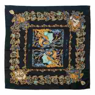 Lalique Paris Vintage Silk Floral Kerchief Scarf