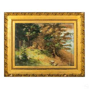 French Antique Lake Landscape Watercolor Painting