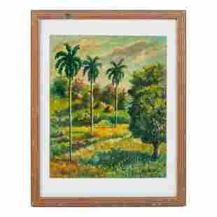 R. Garcia (20th Century) Floral Landscape Painting