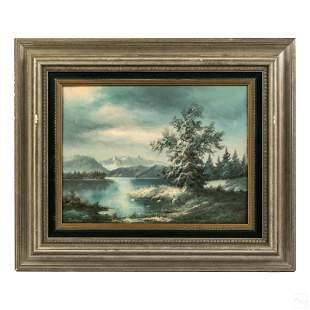 B. Landrock (20th C) Winter Landscape Oil Painting