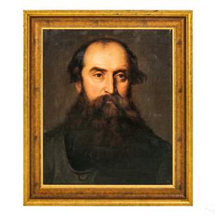 Antique Portrait of Victorian Bearded Man Painting