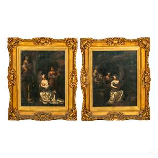 Spanish Old Masters Style Gilt Frame Oil Paintings