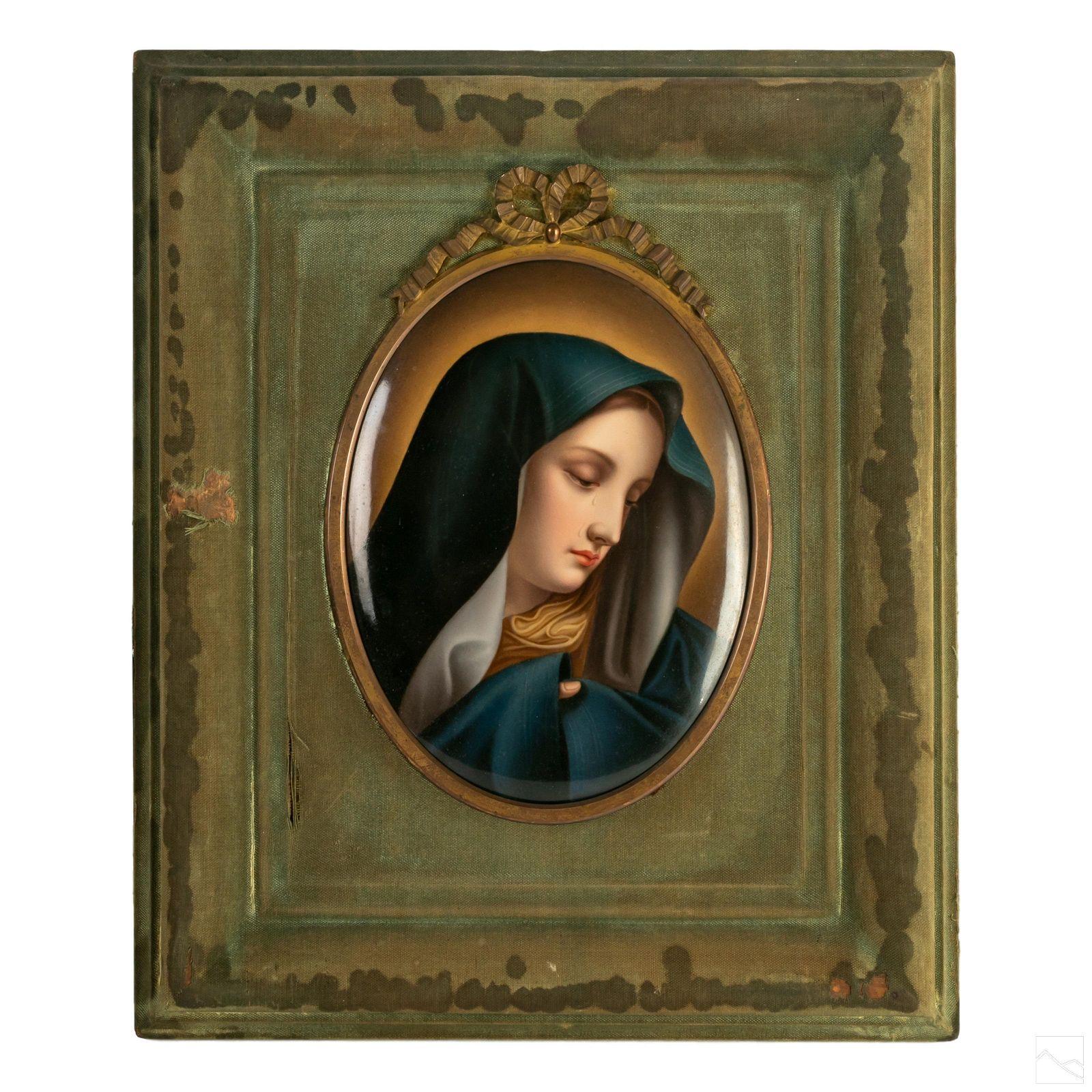 """Virgin Mary 15"""" Antique Porcelain Portrait Plaque"""