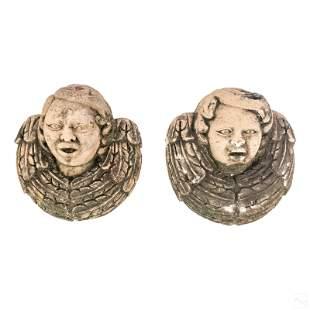 """Terracotta 12"""" Antique Angel Bust Wall Sculptures"""