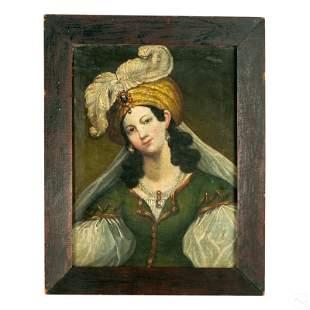 Orientalist Antique Turban Lady Portrait Painting