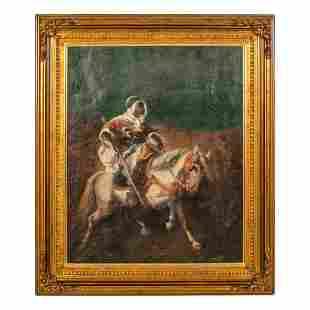 Orientalist Antique Desert Horse Man Oil Painting