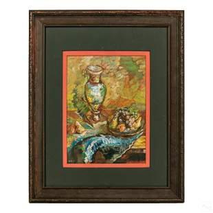 LV Fruit & Vase Still Life Signed Gouache Painting