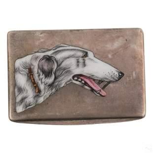 Italian 800 Silver Enameled Wolf Hound Dog Box 89g