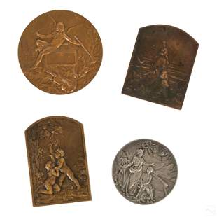 Sterling Silver & Bronze Antique Medallions Group