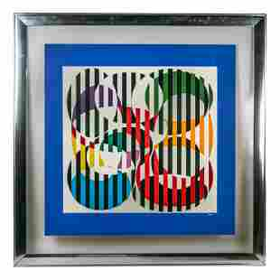 Yaacov Agam (b.1928) Signed Abstract Op Art Litho