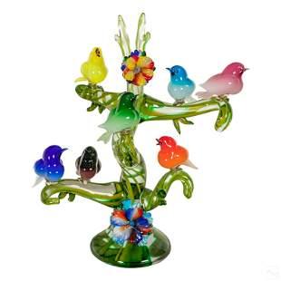 Murano Enrico Cammozzo Glass Bird Tree Sculpture