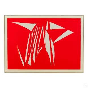 Modern Abstract Red & White Figural Art Lithograph