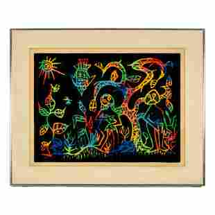 Perkenson (20C.) Pop Art Abstract Adam & Eve Litho