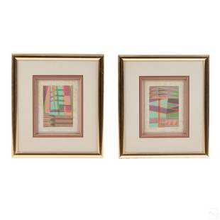 C. Dunlap Pair of LE Abstract Modern Lithographs