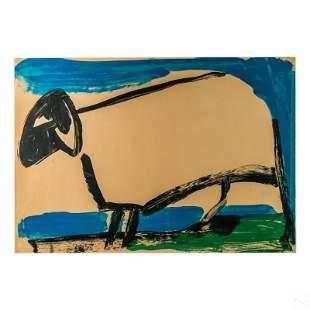 "Outsider Primitive Art 40"" Signed Sheep Lamb Litho"