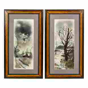Winter Landscape Antique Pastel Painting Drawings