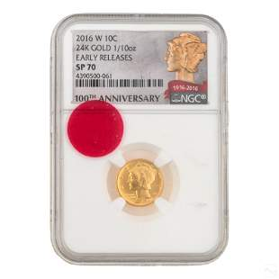 24K Gold 2016 Mercury Dime NGC SP70 First Release