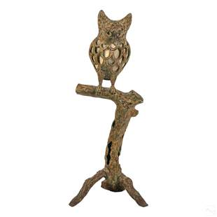 """Cast Iron 36"""" Wise Owl on Branch Sculptural Lamp"""