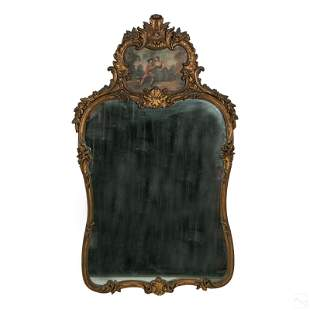 French Antique Gilt Mirror With Painting Of Lovers