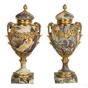 French Solid Marble and Gilt Bronze Urn Sculptures