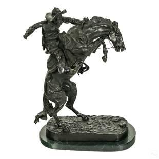 Western Bronze Cowboy Sculpture after F. Remington
