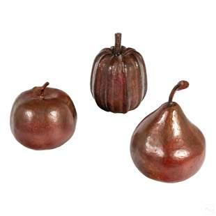 Studio Hand Hammered Copper Fruit Sculptures Group