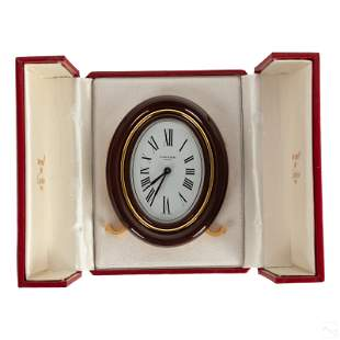 Cartier French Red Enamel Travel Clock with Box
