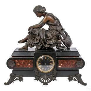 Bronze Antique Mounted Black Slate Mantle Clock