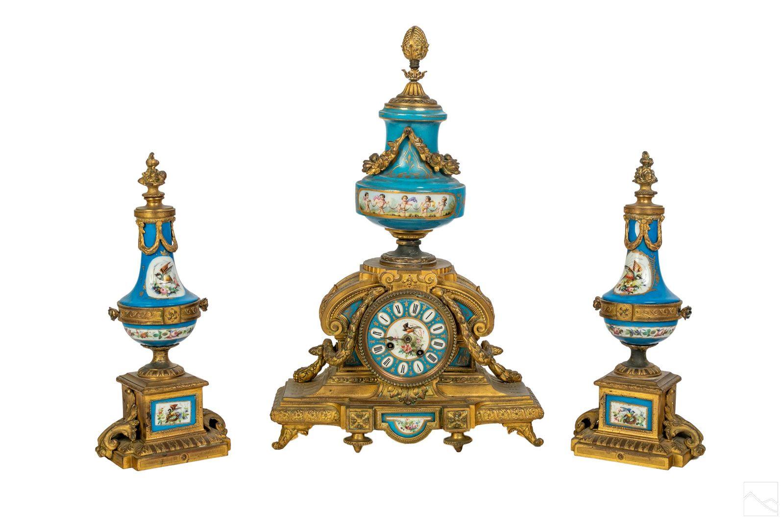 French Bronze Sevres Style Three Piece Clock Set