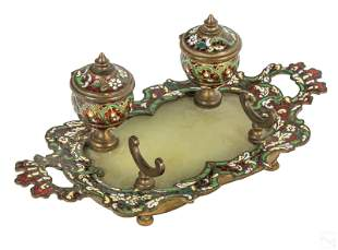 French Bronze Antique Champleve Onyx Inkwell Set
