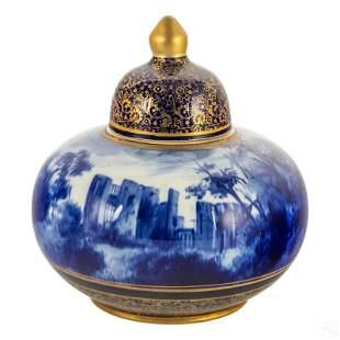 Doulton Burslem Flow Blue Kenilworth Castle Jar