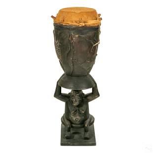 African Tribal Carved Wood Senufo Ceremonial Drum