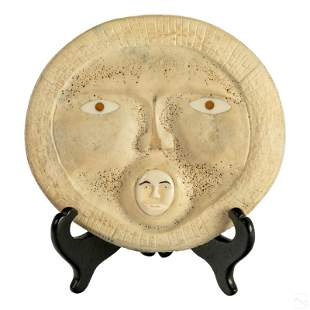 Native Inuit Carved Whale Bone Mask Baleen Inlays