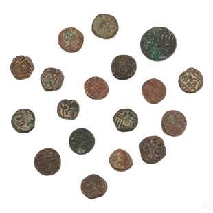 Mughal Indian Kingdoms Antique Copper Bronze Coins