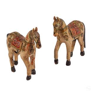 Mughal Indo Persian Carved Wooden Horse Sculptures