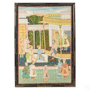 Mughal Indian Jaipur School Silk Scholars Painting
