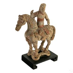 Chinese Carved Wood Warrior Horse Rider Sculpture