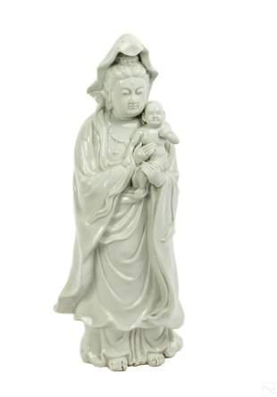 Chinese Porcelain Guanyin & Buddha Child Sculpture
