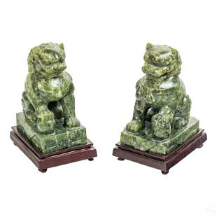 Chinese Hard Stone Spinach Jade Foo Dog Sculptures