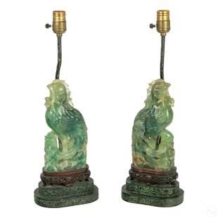 Chinese Carved Jade Pheasant Bird Wildlife Lamps