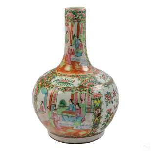 "Chinese Antique 15"" Rose Medallion Porcelain Vase"