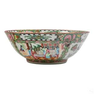 "Chinese Antique 12"" Rose Medallion Porcelain Bowl"