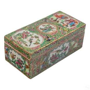 Chinese Antique Rose Medallion Porcelain Box & Lid