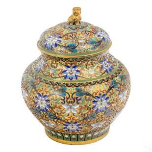 Chinese Enameled Cloisonne Foo Dog Ginger Jar Urn