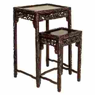 Chinese Carved Wood Dragon & Clouds Nesting Tables