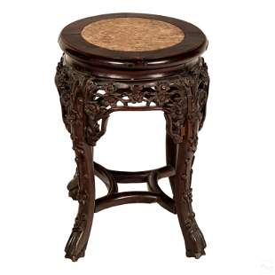 """Chinese 18"""" Carved Wood Marble Top Pedestal Stand"""